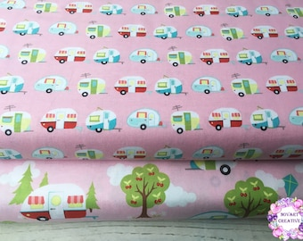 Riley Blake CAMPER GLAMPER PINK/Cotton/Fabric/Sewing/Quilting