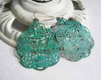 Lacey Filigree Earrings Verdigris Earrings Patina Filigree Earrings Patina Earrings Summer Beach Jewelry Turquoise Earrings Boho Jewelry