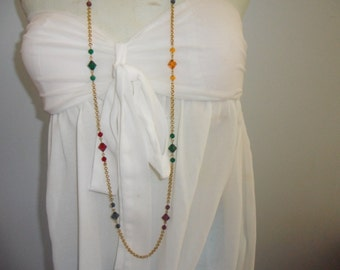 Authentic Vintage SIGNED NAPIER Multi Colored Crystal Gold Very Long Necklace
