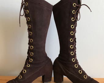 1960s Knee High, Dark Brown Suede Lace Up Boots, Gold Grommets, Victorian Revival,US Size 6