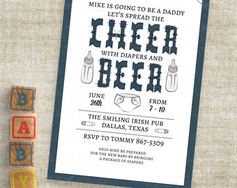 Cheer and Beer Man Shower Invitation in Navy Blue with Diaper and Baby Bottle Personalized Custom Digital File with Professional Printing