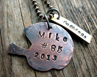 Rustic Copper Football Helmet, Brass Team Tag Necklace, School Team Football,  Personalized, Mens Gift, Team Gift, Hand Stamped