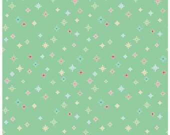 COZY CHRISTMAS - Sparkle in Mint Green -  Holiday Stars Cotton Quilt Fabric - C5365-MINT - Lori Holt for Riley Blake Designs Fabrics (W4315)
