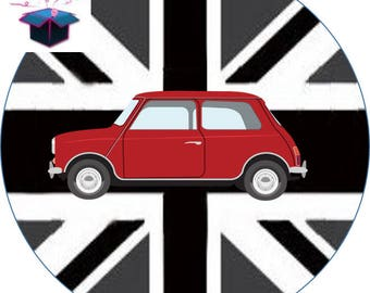 1 cabochon clear 25 mm British flag theme