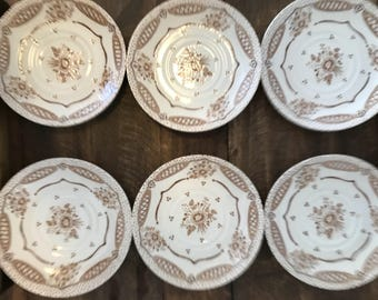 EIT England ironstone Plates / Dishes - Set of 6 (Brown \u0026 Cream) Country & Ironstone dishes | Etsy