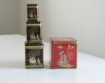 Vintage asian tea tin collection / red black tea and bicuit tins / chinoiserie storage canisters / Vintage Daher