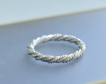 Twist Ring, Rope  Ring, Silver Rope Ring, Sterling Silver Ring, Silver ring, Simple Ring, Sterling Silver Rope Ring, Twisted Stacking Ring