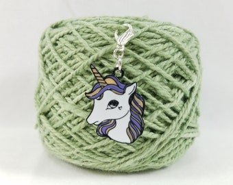 White and Purple Unicorn Lobster Clasp Stitch Marker, Progress Keeper, Zipper Pull, Stitch Keeper, Dangle Charm