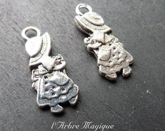Charm little girl with Hat silver x 10