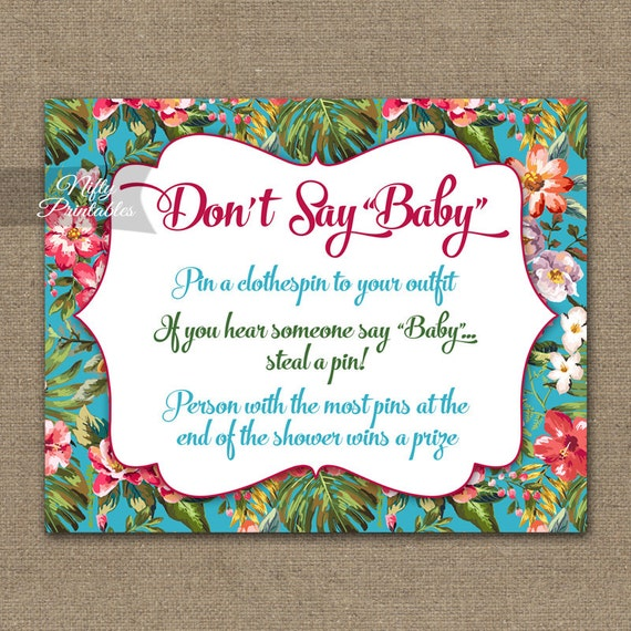 Hawaiian Donu0027t Say Baby Shower Game   Luau Baby Shower Game   Printable  Tropical Decor Neutral Baby Shower Games   Instant Download   TRP