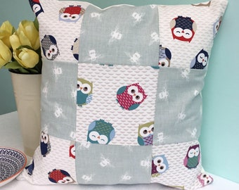 Patchwork cushion - patchwork pillow - owl cushion - owl pillow