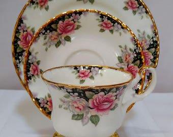 ROYAL ALBERT, Bone China, CONCERTO, Teacup, Saucer, + Bread Plate,Elegant Floral