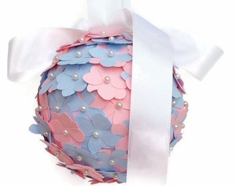 Pink and blue pomander, flowergirl pomander, wedding aisle decor, church pew, wedding decor, paper hydrangea flowers, wedding accessory,
