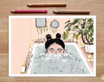 Bath Art Print, Bath Artwork, Bathroom Art, Bath Illustration, Bathtime, Taking a Bath, Bathtub Art, Relax Wall Art, Take Care of Yourself
