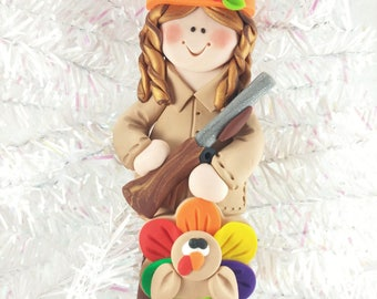 Listing for Cindy - Female Hunter with Turkey Christmas Ornament
