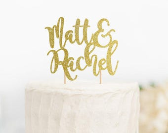 Wedding cake topper, custom name cake topper, ampersand cake topper, engagement cake topper, bridal shower cake topper,