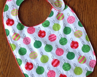Pink, Red and Green Christmas Oranment Minky Baby/Toddler Bib