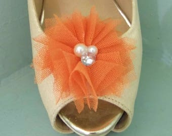 Beautiful Deeree Burnt Orange Netted Shoe Clips with Pearl & Diamante Centre