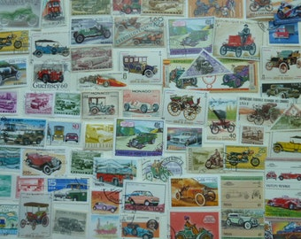 Cars And Motorcycles -  Lot of U.S. and Worldwide Postage Stamps for Collecting, Decoupage, Paper Crafts, Collage and More...