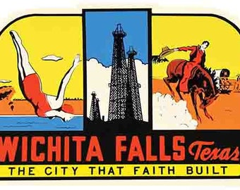 Vintage Style Wichita Falls TX   Texas Travel Decal sticker