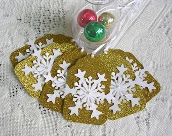 Gold Weihnachten Tags - große Schneeflocke Geschenkanhänger - Set aus 6 Mitte-Glitter-Urlaub-Tags