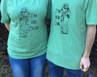 Custom Couples Link and Zelda t-shirts