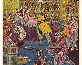 Vintage 1930's Fairy Tale Illustration Bookplate Print, The Magic Carpet by P Vinton Brown, Decorative Harem Scene