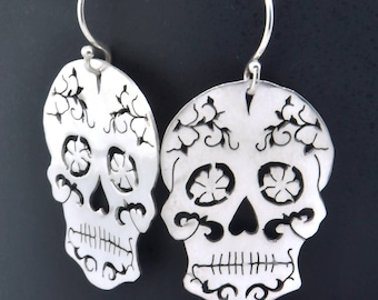 Sugar Skull Earrings, Sugar Skull Jewelry, Dias Las Muertos Jewelry, Sugar Skull Pendant, Day of the Dead Wedding, Gift For Her