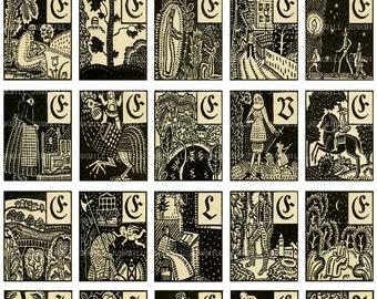 MEDIEVAL WOODCUTS - Digital Printable Collage Sheet - Macabre Occult Wiccan, Dancing Devils, Tarot Card Symbolism, Digital Download