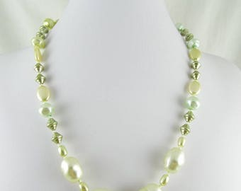 Aleena (Pale Green & Creme Preciosa Czech Glass Pearls on Hand Knotted Silk Necklace)