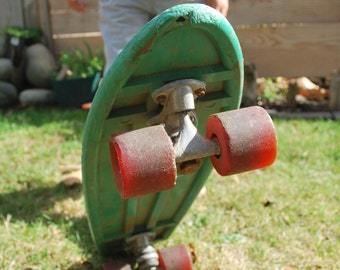 Vintage Skateboard Plastic Green Deck And Poly Wheels