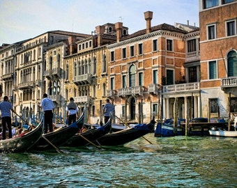 Italy photography - Men at Work -  Venice, Italy - Fine art travel photography - green, blue, terracotta