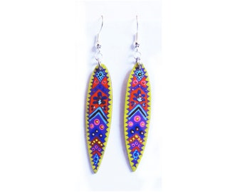 Earrings bamboo sheet painted purple and yellow handmade tribal
