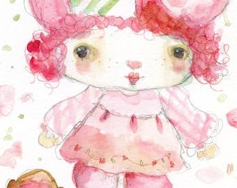 Raspberry Tart and Rhubarb - art print by Mindy Lacefield