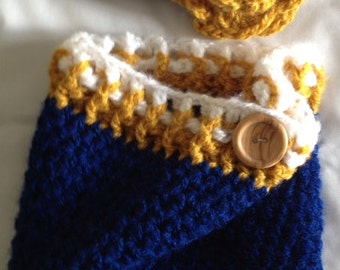 Crocheted Cowl w/Matching Headband Hairtie Wpg Blue Bomber Blue, Gold, White Flower Photo Prop Scarf Shawl