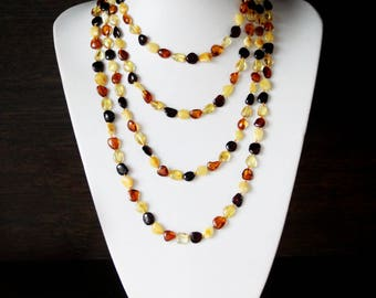 Baltic Amber Necklace - Amber Necklace Adult - Baltic Amber Jewelry - 210 cm/82.6 in