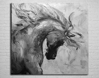 Horse Painting Original Black And White Oil Art Running Gift Idea For Him