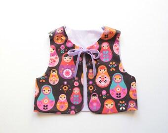 Baby Girl Vest MATRYOSHKA pattern sewing pattern Pdf , Easy Vest pattern, toddler, Girl newborn 3 6 9 12 18 m 2 3 4 5 6 7 8 9 10 yrs