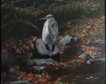 Heron on a rock on a river bank