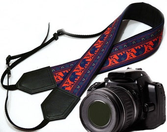Lucky Elephant camera strap. Ethnic camera strap. Blue / red , DSLR / SLR Camera Strap. Photo Camera accessories. Great gift idea.