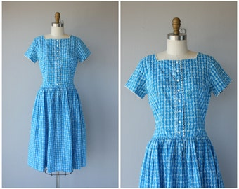 Vintage 50s Heart Print Dress | 1950s Dress | 50s Cotton Dress | 1950s Day Dress | 50s Blue Folk Print Dress