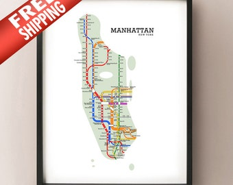 Manhattan Metro Subway Map Art Print