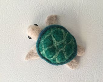Needle felted Green turtle magnet