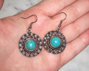 "Vintage Southwestern Style Metal earrings,Faux Turquoise,1 3/4"" by 1"",Pre-owned,Aztec,Indian,Mexican,blue,hook,silver tone"
