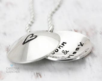 Love is Within | Personalized Hand Stamped Jewelry | Heart Locket Necklace | Name Jewelry | Girlfriend Fiance Wife Love | Christina Guenther