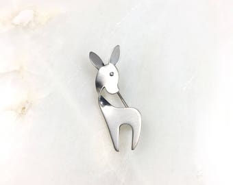 Vintage Sterling Silver Orb Danish Deer Minimal Modernist Pin Brooch