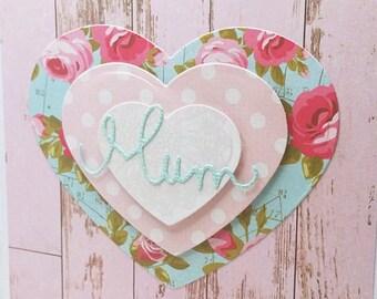 Mother's Day card, Mum birthday card, Card for Mum, Mum with hearts, Love Mum card, Handmade Greeting Card, Blank Greeting Card, Pink Card