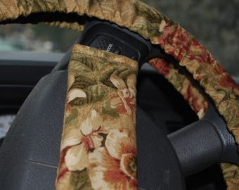 Steering Wheel Cover and Seatbelt covers car 1 each  Large floral pattern on brown background