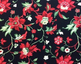 Wilmington Prints CRIMSON AND HOLLY (Black) 100% Premium Quality Cotton Fabric-Per 1/2 Yard