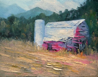 "Rustic Barn Oil Painting, Landscape Oil Painting,Palette Knife Painting, 9x12x.75"" Rural Landscape, Free Shipping in US"